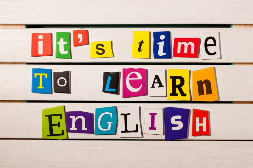 learning concept. it's time to learn English – written