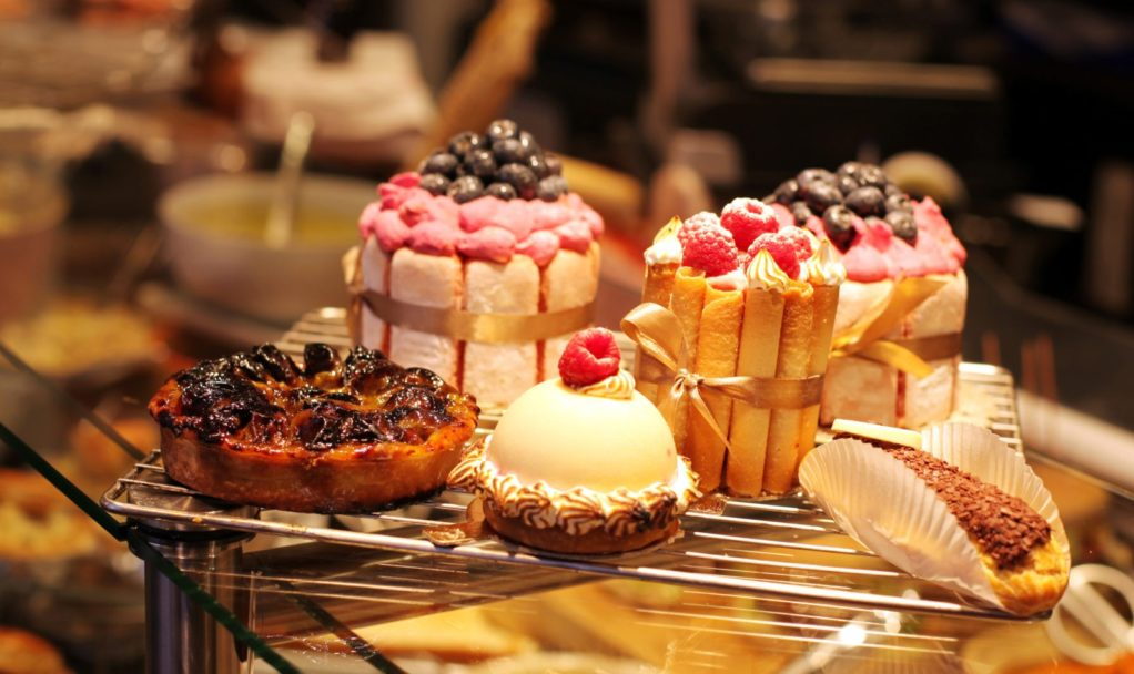 French pastries on display a confectionery shop